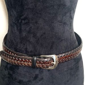 Brown   Genuine   Nubuck Leather Belt   Braided 32